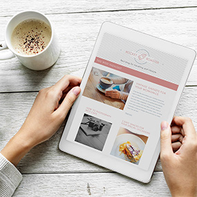 Tablet with coffee & pastry images and SEO Optimised content  Coffee in a white mug  Exceptional Blog Writing Service